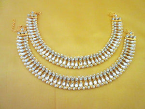 Indian Bollywood Anklet Pearl Kundan Belly Dance Payal Fashion Jewelry Gold Tone