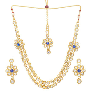 Indian Bollywood Gold Plated Blue Kundan Bridal Fashion Necklace Jewelry Set