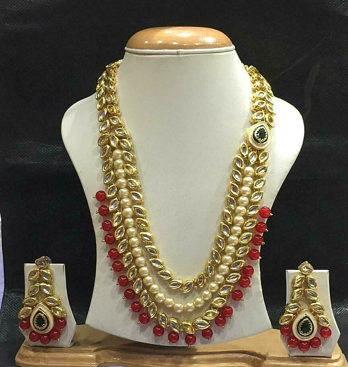 Ethnic Indian Bollywood Long Gold Tone Kundan Red Necklace Earrings Jewelry