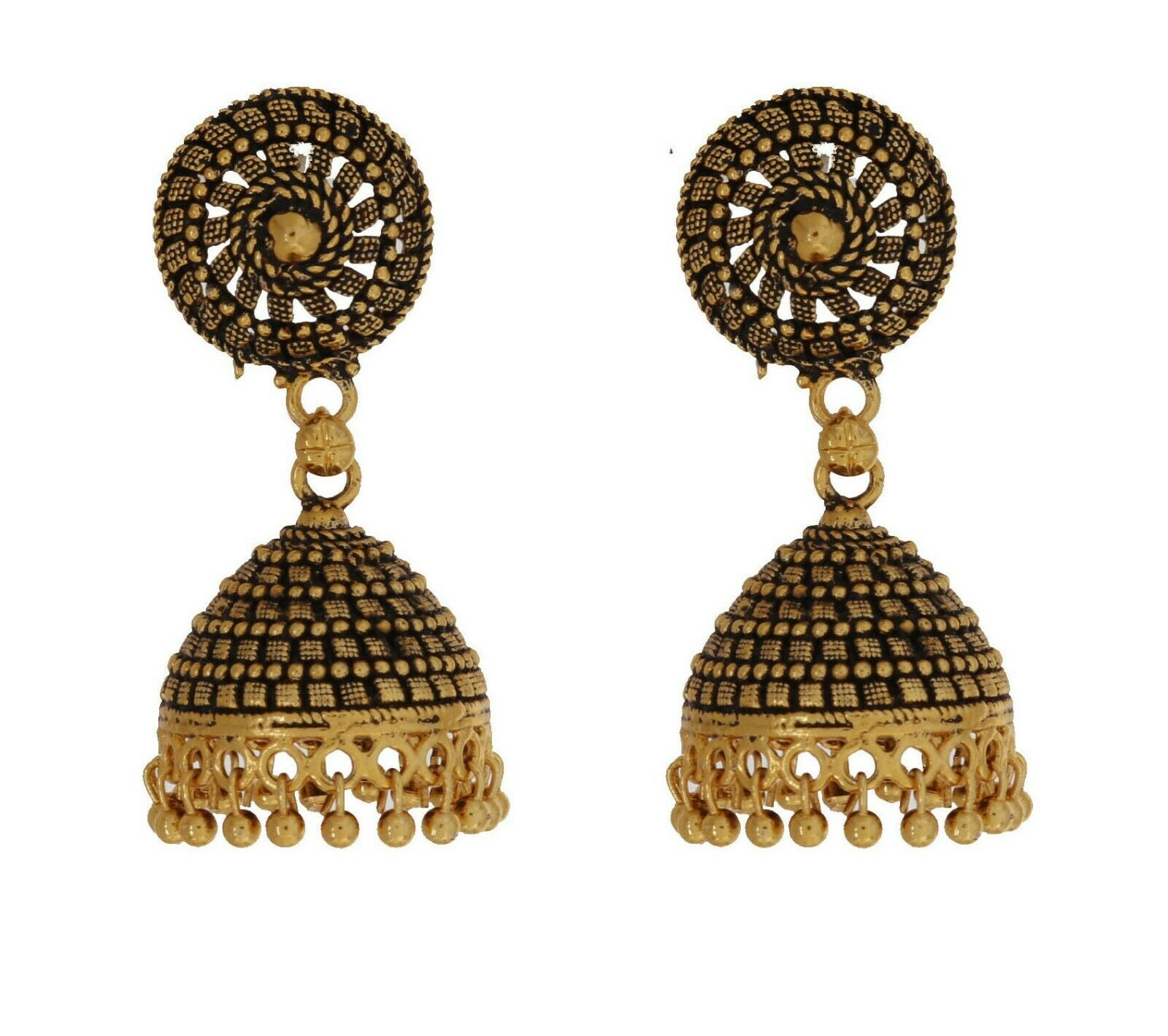 Indian Bollywood Gold Plated Designer Jhumka Earrings Ethnic Fashion Jewelry