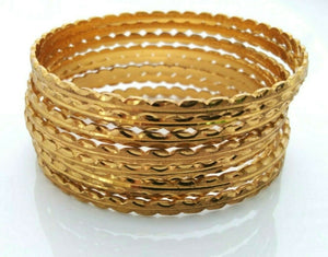 Indian Gold Plated Ethnic Bracelet Kada 8 pcs Women Bangle Set Tribal Jewelry
