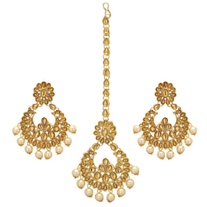 Gold Tone Kundan Maang Tikka Head & Hair Chain Earring Set Indian Bridal Jewelry