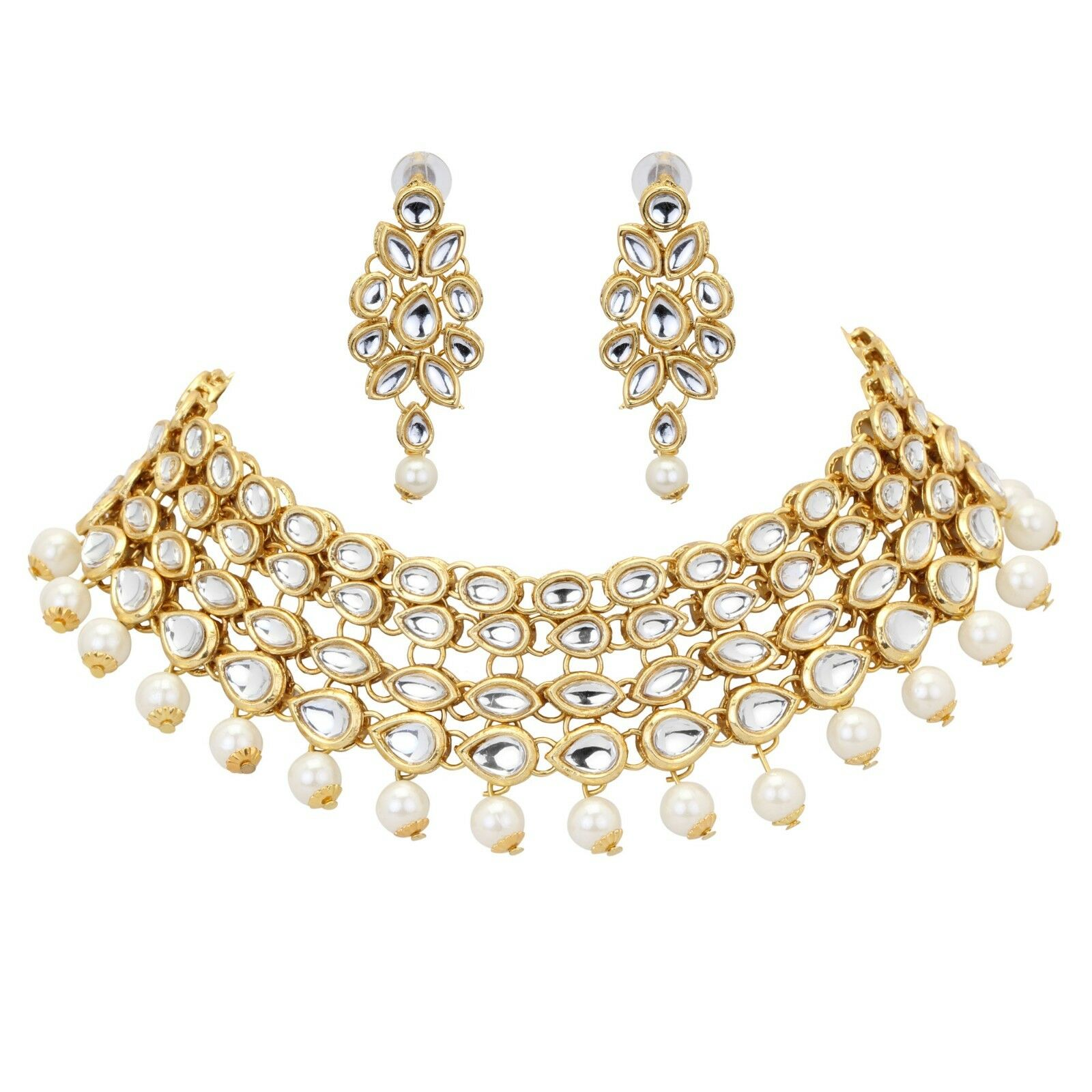 Indian Bridal Silver Pearl Kundan Bollywood Choker Fashion Jewelry Necklace Set