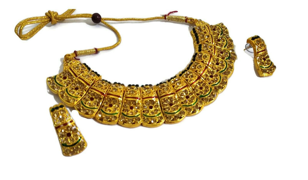 Indian Bollywood Bridal Gold Plated Multi-Color Choker Jewelry Set