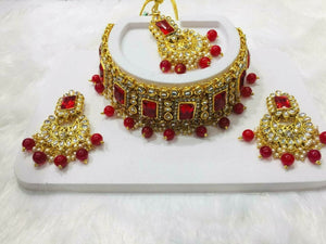 Indian Bollywood Red Choker Necklace Earring Maang Tika Fashion Jewelry Set