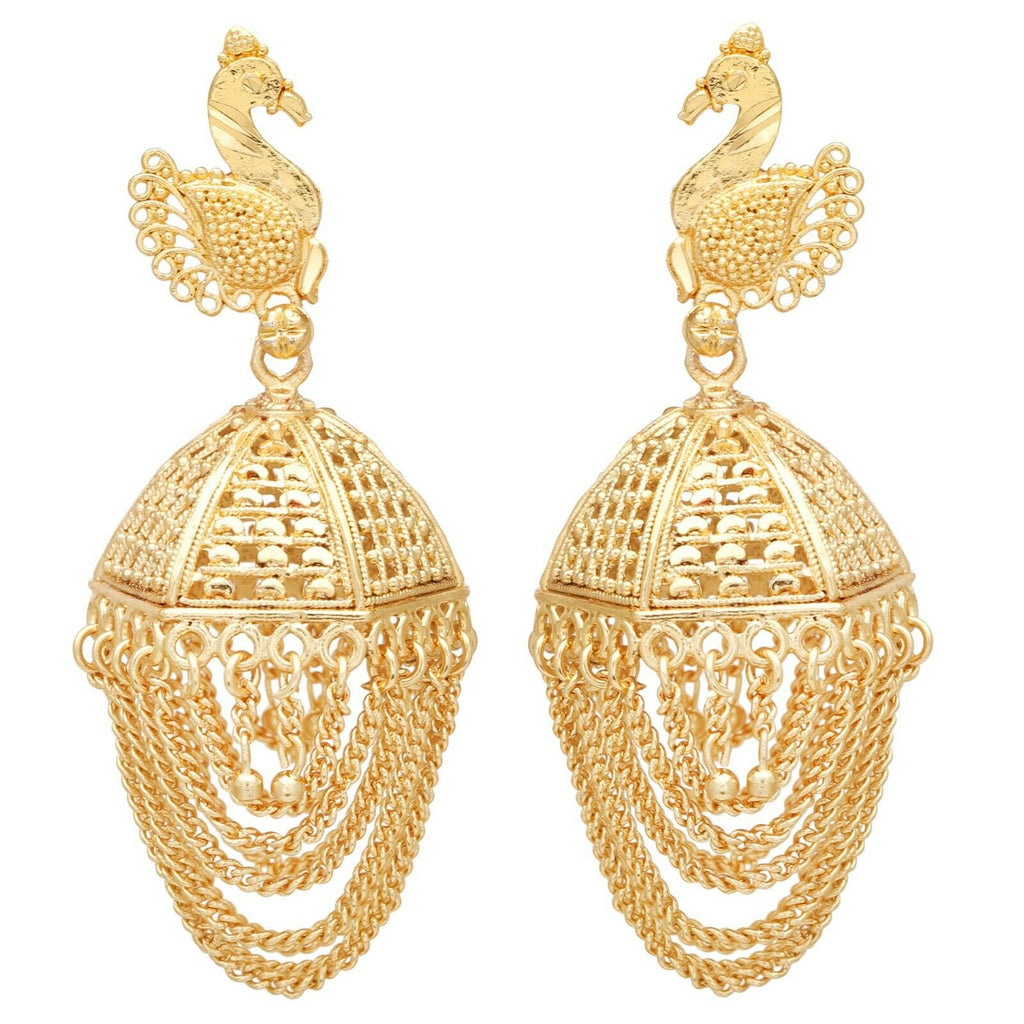 Bollywood Ethnic Gold Plated Peacock Jhumka Jhumki Indian Party Wear Earrings