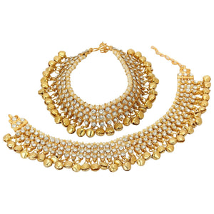 Indian Traditional Bollywood Gold Silver Tone Pearls  Anklets Fashion Jewelry