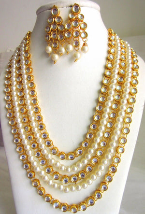 Indian Bollywood Fashion Jewelry Royal Gold Tone Kundan Set Pearls Rani Haar