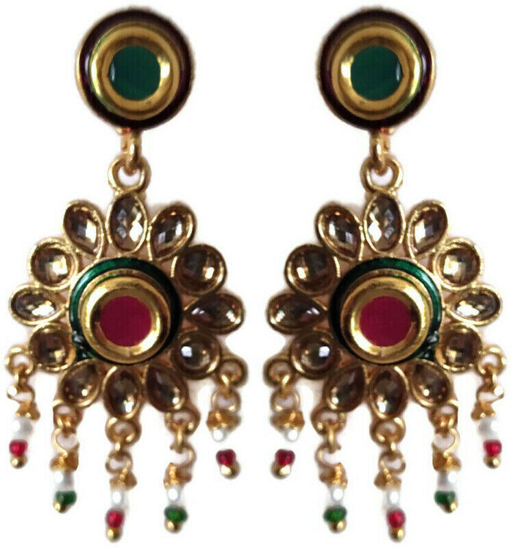 Indian Bollywood Multi-Color Gold Plated Kundan Polki Fashion Earrings Jewelry