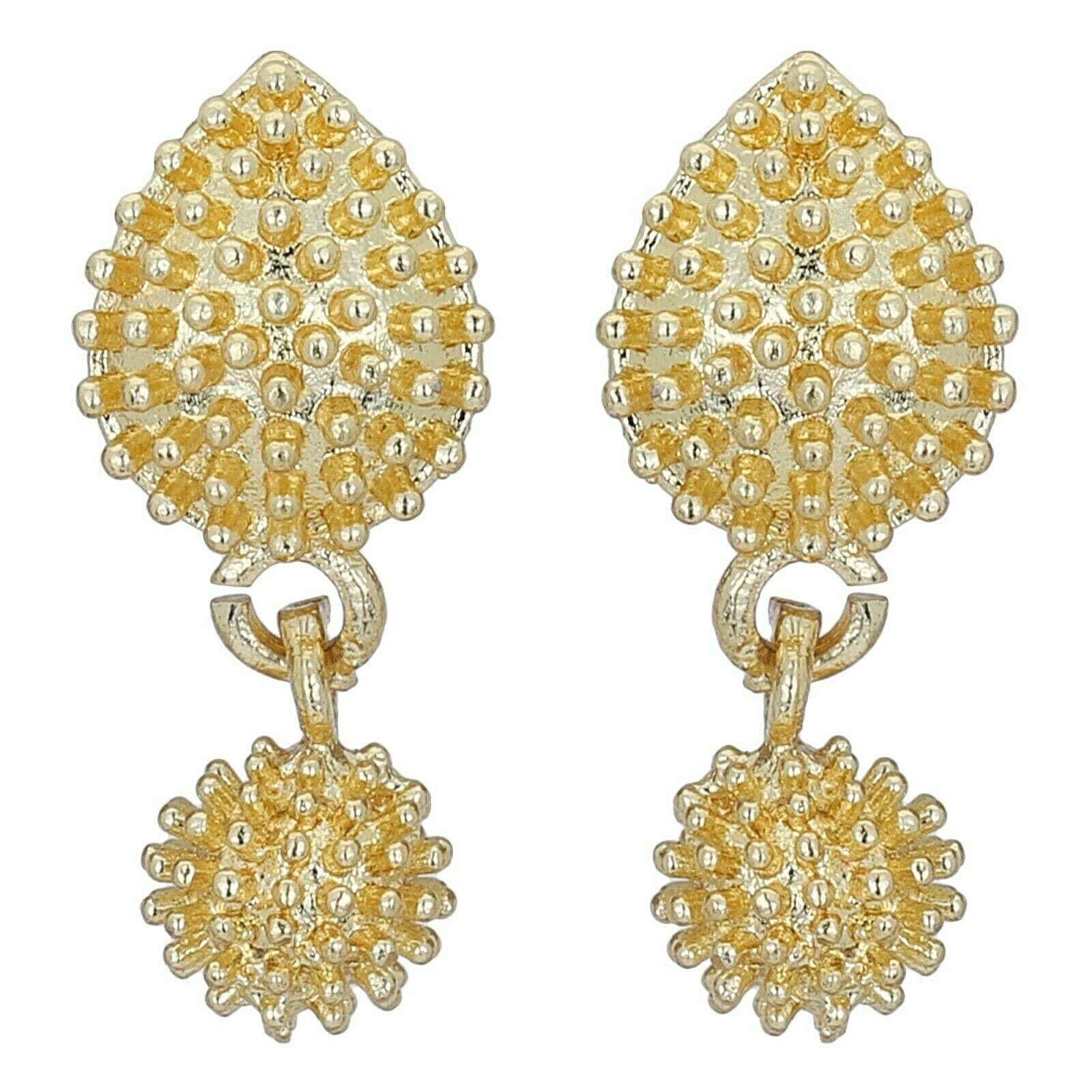 Indian Gold Plated Stud Screw Back Earrings Jewelry Women Traditional Wedding