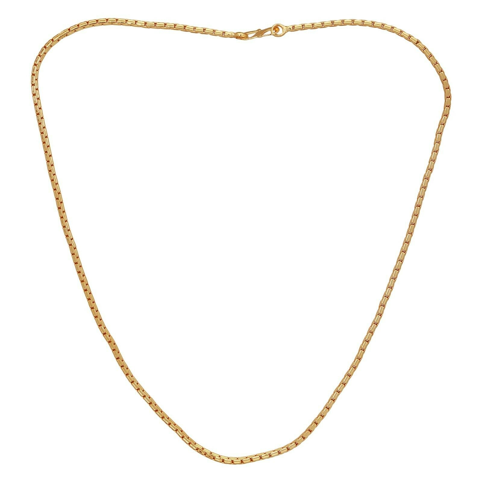 "22k Indian Gold Plated Necklace 20"" Long Chain Bollywood Unisex Fashion Jewelry"