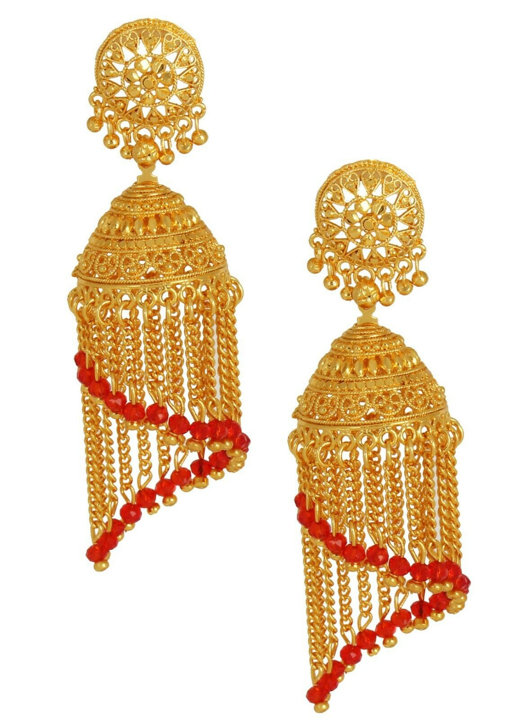 Indian Bollywood Red Pearl Gold Plated Jhumka Jhumki Wedding Fashion Earrings