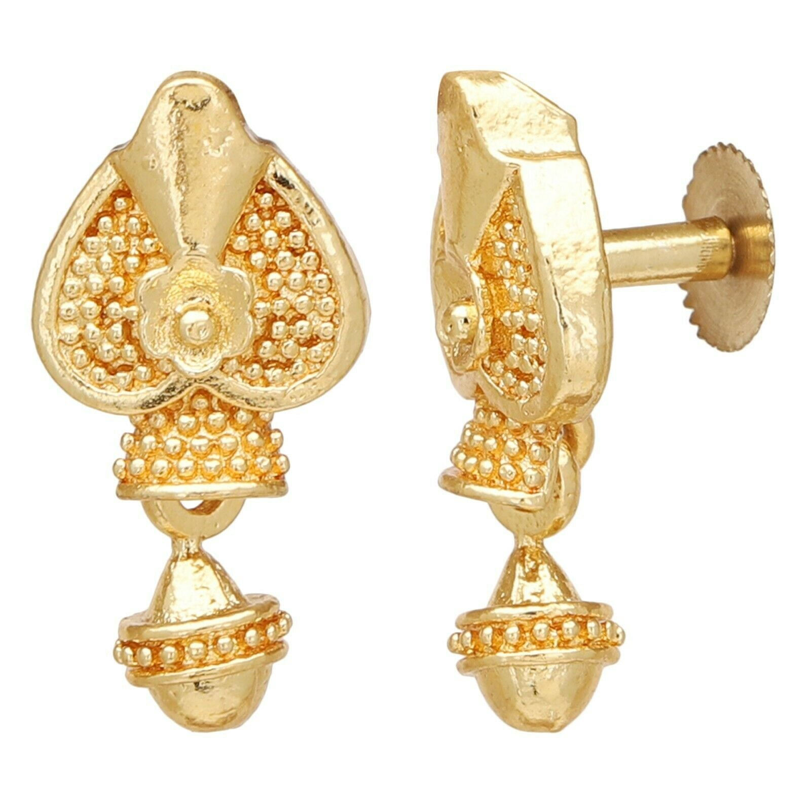 Indian Gold Plated Drop Earrings Jewelry Bridal Wedding Jhumka Jhumki