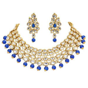Indian Gold Plated Kundan Blue Pearl Necklace Earring Fashion Jewelry Set