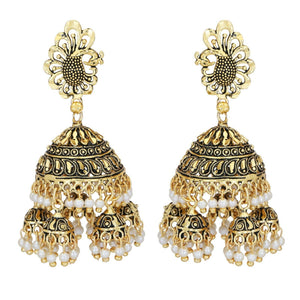 Indian Traditional Silver Pearl Big Multi Gold Jhumka Earrings Fashion Bridal