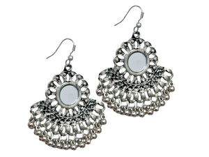 Afghani Silver Oxidized  Hook Earrings For Women Indian Pearl Fashion Earrings