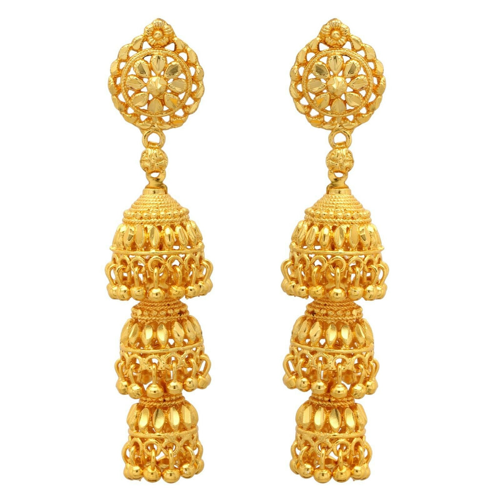 Indian Bridal Gold Plated Party 3 Layer Jhumki Jhumka Ethnic Fashion Earrings