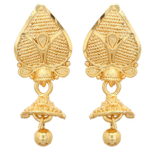 Gold Plated Earrings 2.5cm Drop Bollywood Indian Traditional Asian JhumkaJhumki