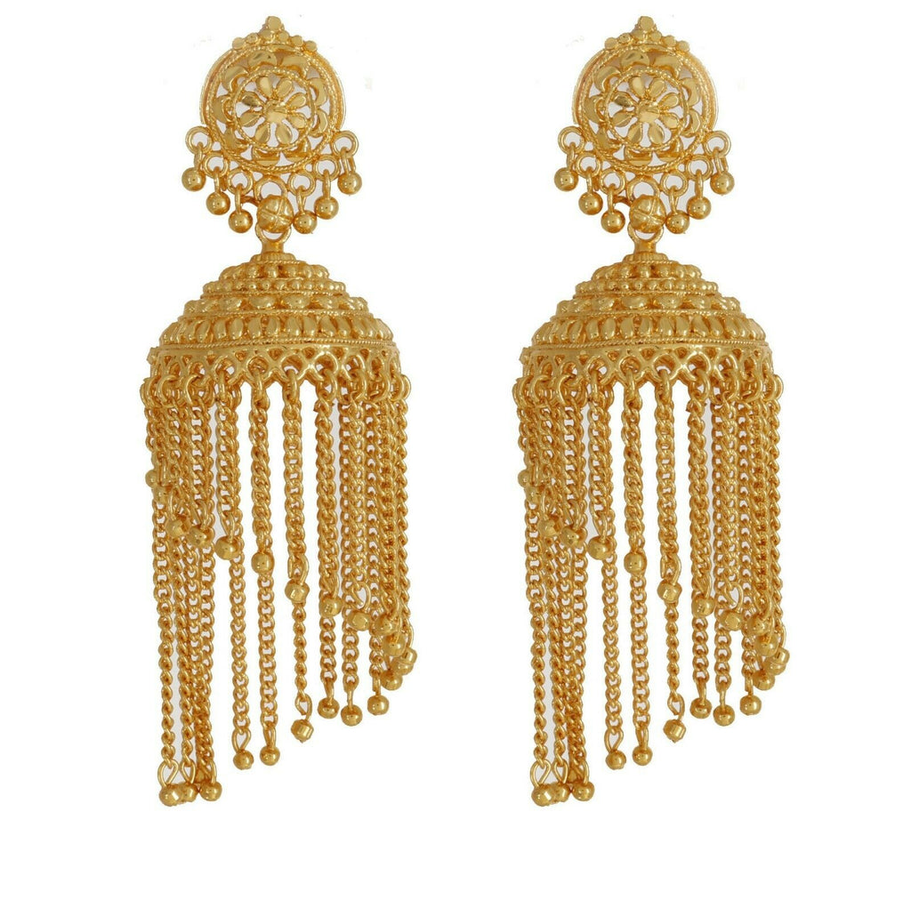 Indian Traditional Gold Plated Fashion Earrings Wedding Ethnic Jhumka Jhumki