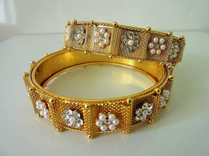 "Gold Plated Bangles Women Fashion Size 2.6""Ethnic Indian Bollywood Bracelets"