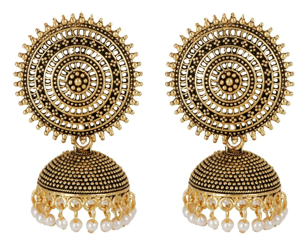 Indian Bollywood Women Tribal Oxidized Gold Stud Jhumka Girls Earrings Jewelry