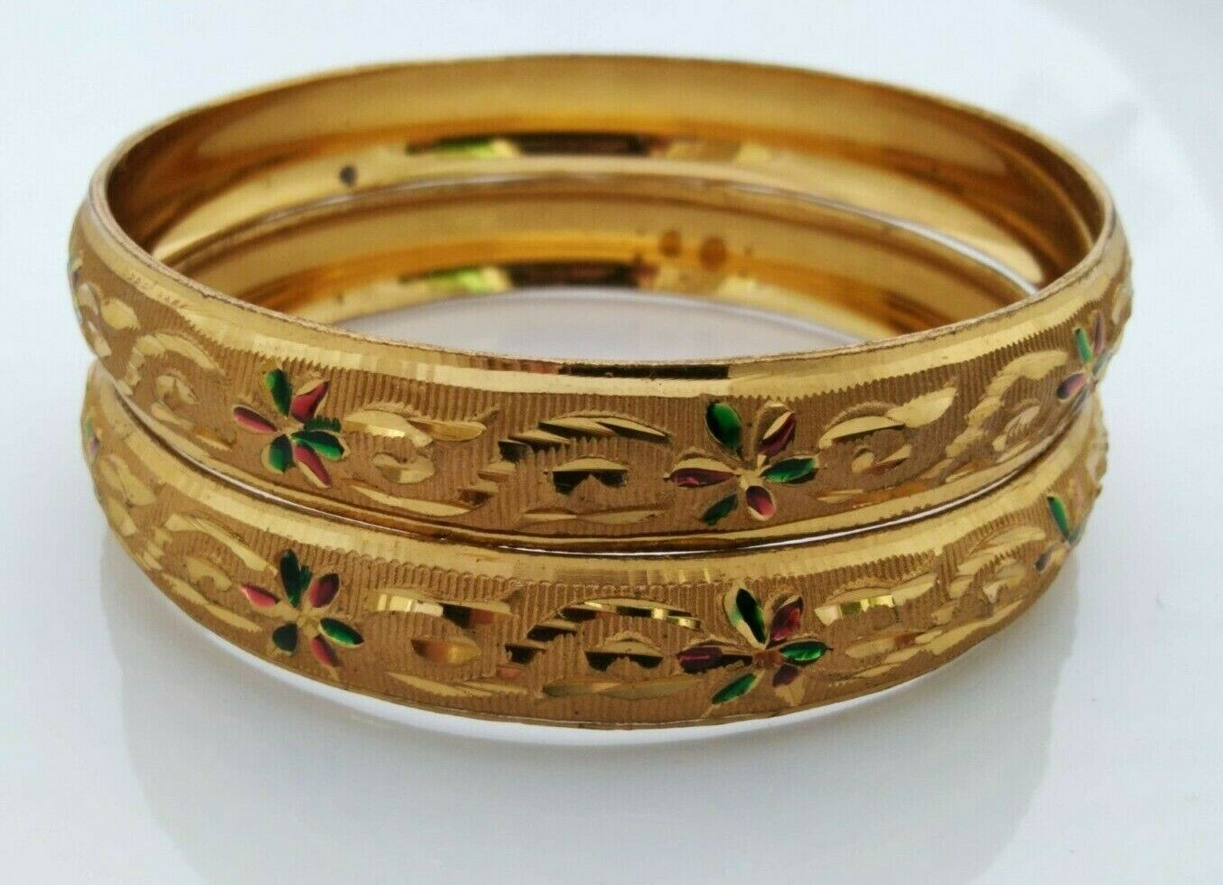 Gold Plated Indian Bangle Set Bridal Jewelry Bollywood Ethnic Bracelet Size 2.10