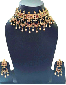 Indian Bollywood Gold Plated Multi-Color Choker Bridal Party Fashion Jewelry Set