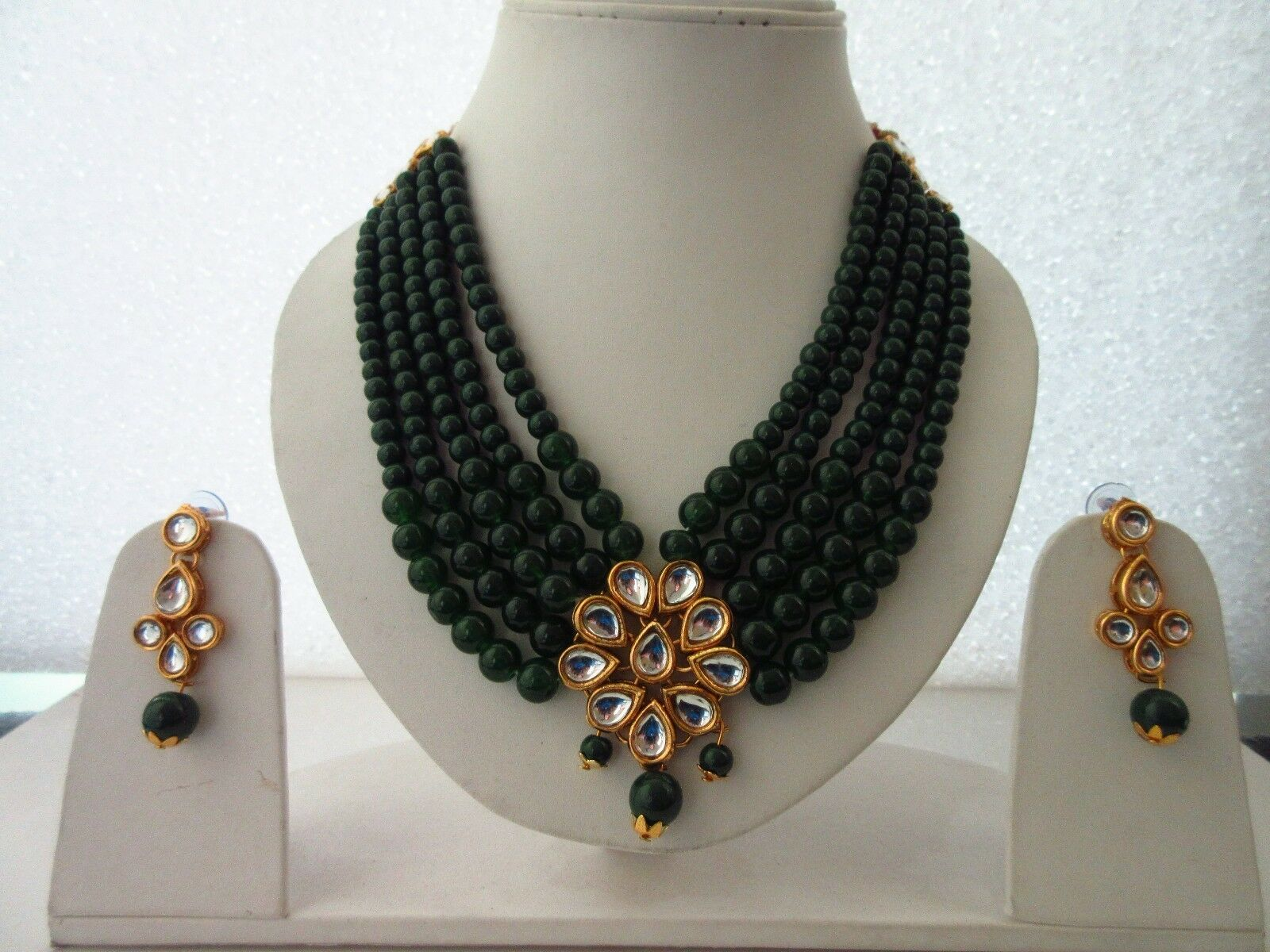 Indian Traditional Bridal Green Pearls Bollywood Wedding Fashion Jewelry Set