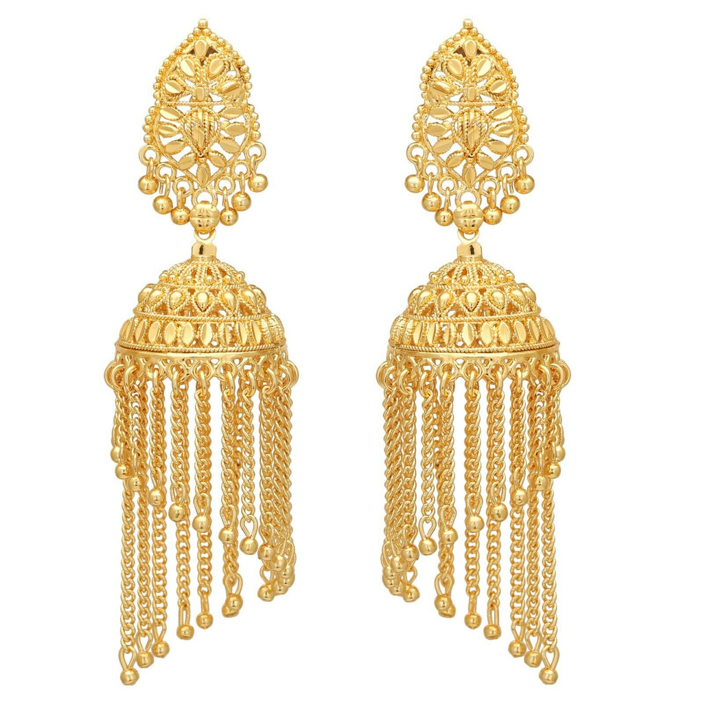 Indian Bollywood Traditional Gold Plated Long Jhumka Jhumki Chandelier Earrings
