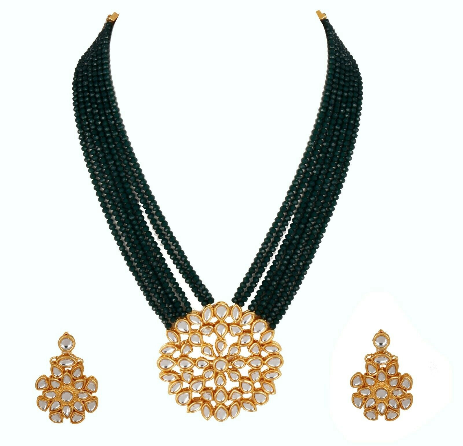 Indian Bollywood Gold Plated Fashion Green Pearl & Kundan Necklace Earring Set