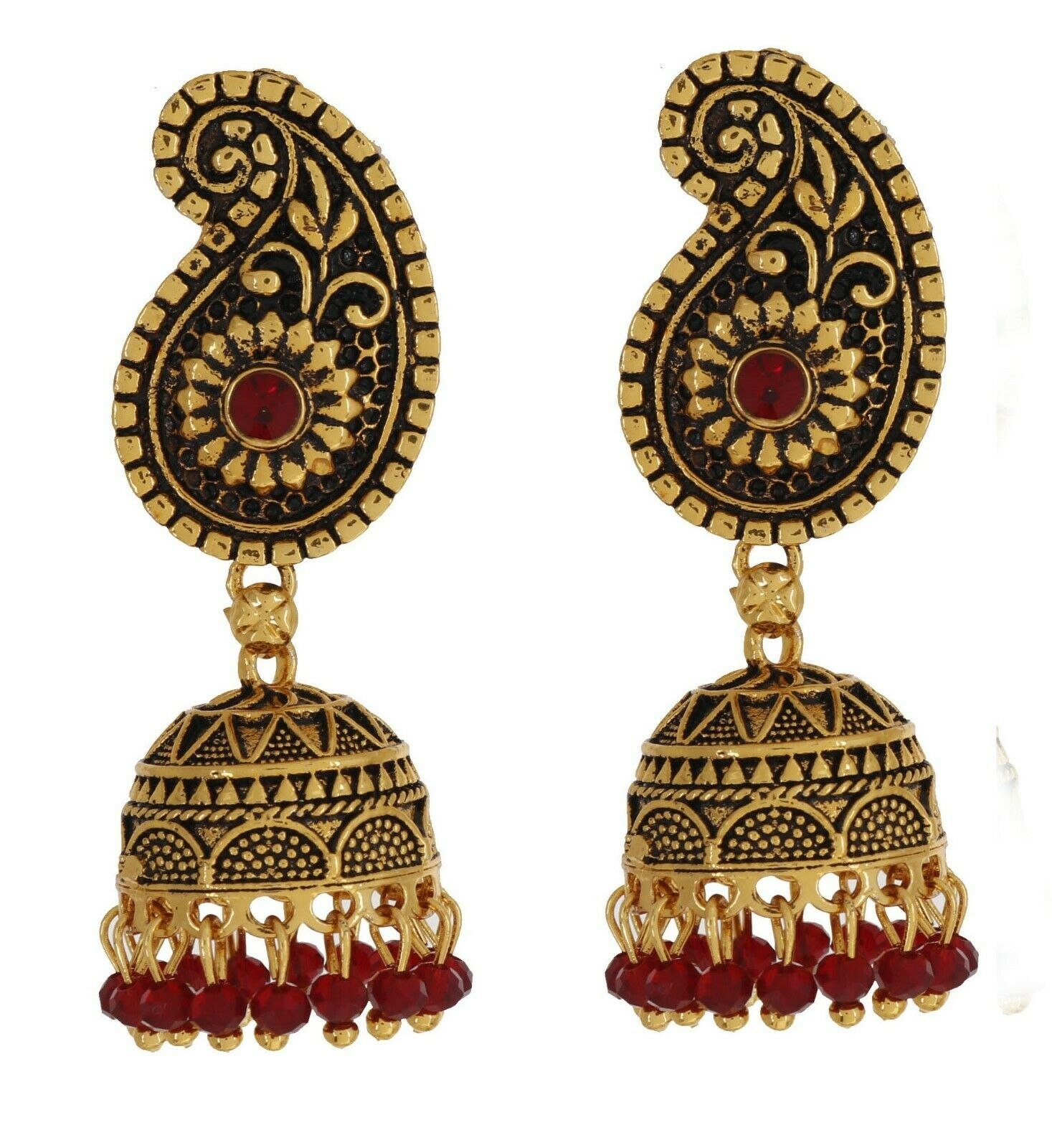 Indian Gold Plated Bollywood Bridal Fashion Ethnic Antique Jhumka New Earrings