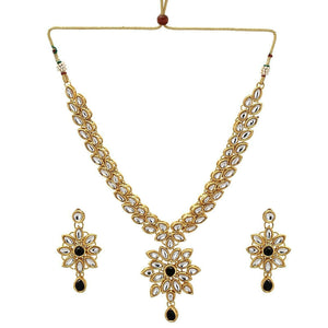 Bollywood Black Kundan Fashion Jewelry Set Gold Plated Indian Traditional Party