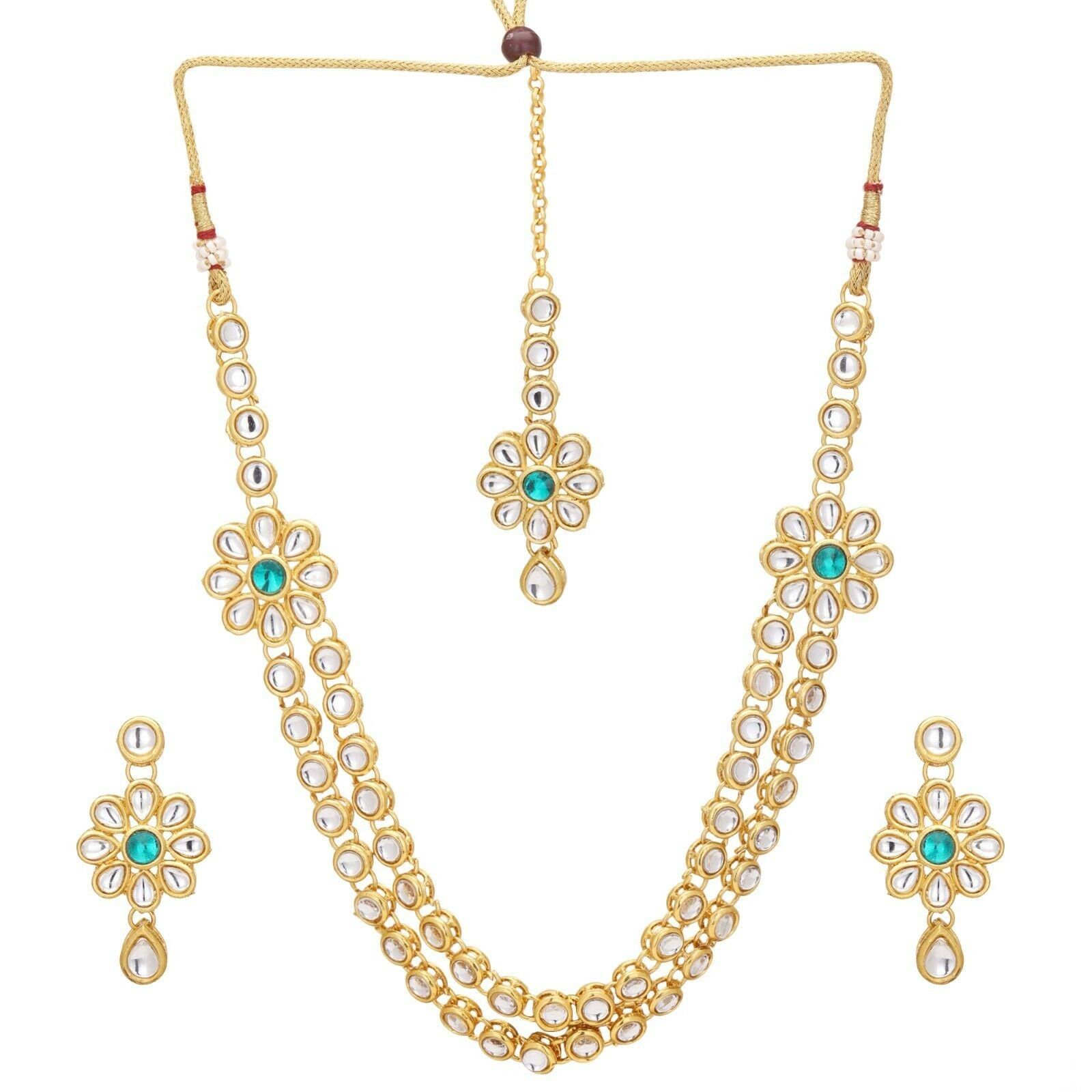 Indian Bollywood Gold Plated Green Kundan Bridal Fashion Necklace Jewelry Set