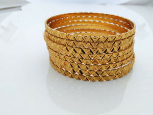 Gold Plated Indian Traditional 8Pc Bangles Jewelry Ethnic Bracelet Size 2.4""