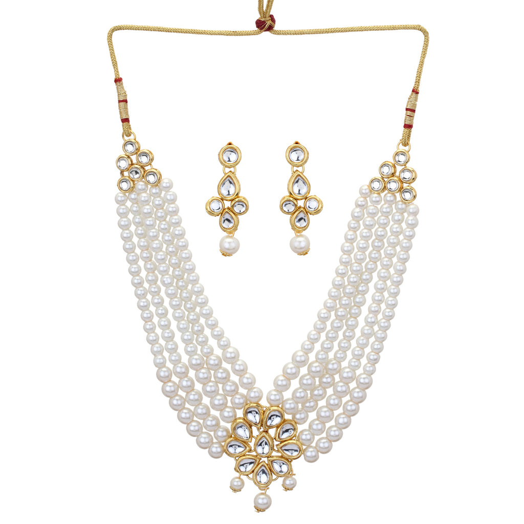 Indian Bollywood Wedding White Pearls Kundan Women Fashion Jewelry Set