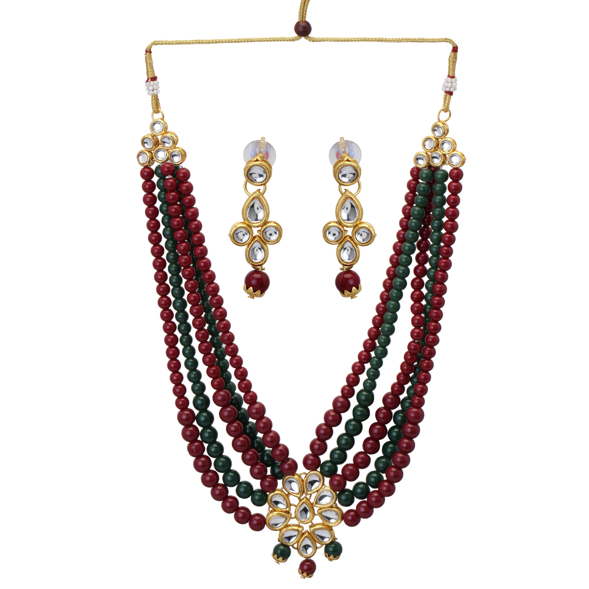 Indian Traditional Multi -Color Pearls Kundan Wedding Fashion Jewelry Set