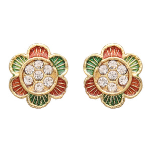 Gold Plated Ethnic Indian Women Traditional Designer Stud Stones Earrings