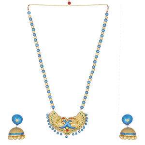 Indian Traditional  Blue Peacock Necklace Terracotta Handicraft Jewelry Set