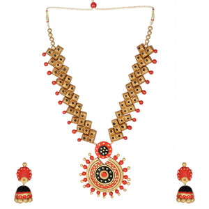 Indian Traditional Antique Gold Red Black Terracotta Handicraft Jewelry Set