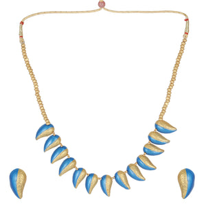 Blue Gold Leaves Necklace Terracotta Jewelry Set