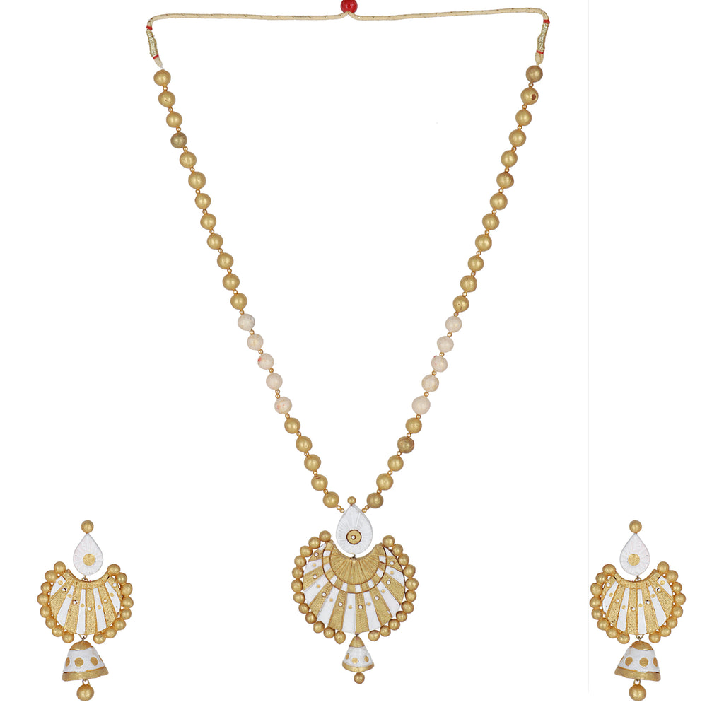 Indian Terracotta Handcrafted Vintage Unique Gold Pattern Style Fashion Jewelry set
