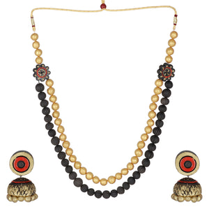 Indian Terracotta Handcrafted Vintage Beaded Mala Style Fashion Jewelry set
