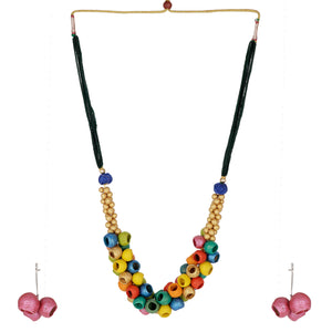 Indian Terracotta Handcrafted Bohos Tag Multicolour Fashion Jewelry Set
