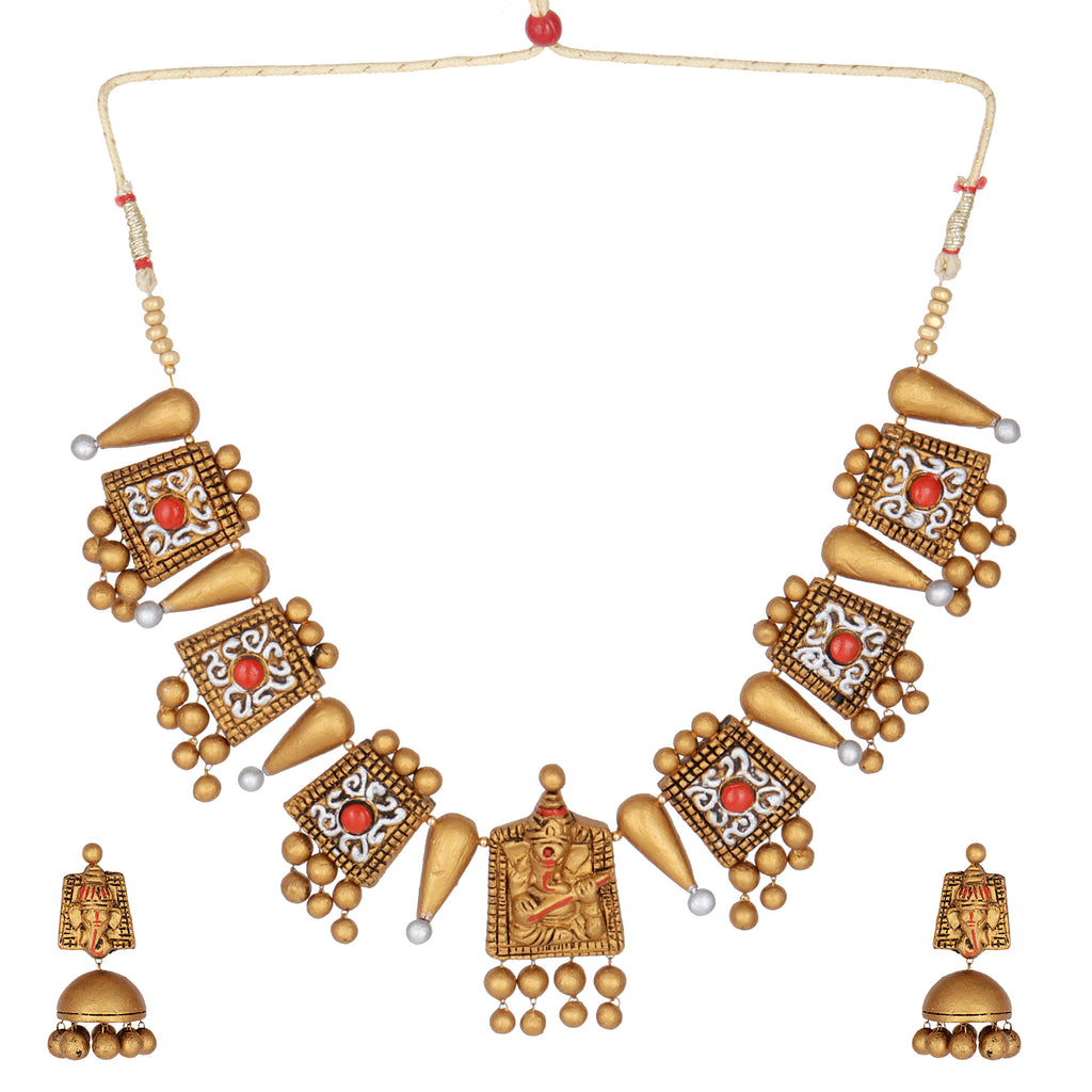 Indian Terracotta Handcrafted Vintage Ganesha Style Fashion Jewelry Set