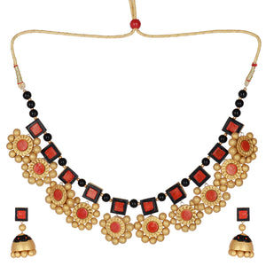Indian Terracotta Handcrafted Vintage sunflower Style 2 Fashion Jewelry set
