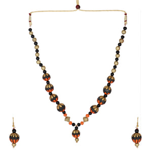 Indian Terracotta Handcrafted Vintage Beaded Mala Style 2 Fashion Jewelry set