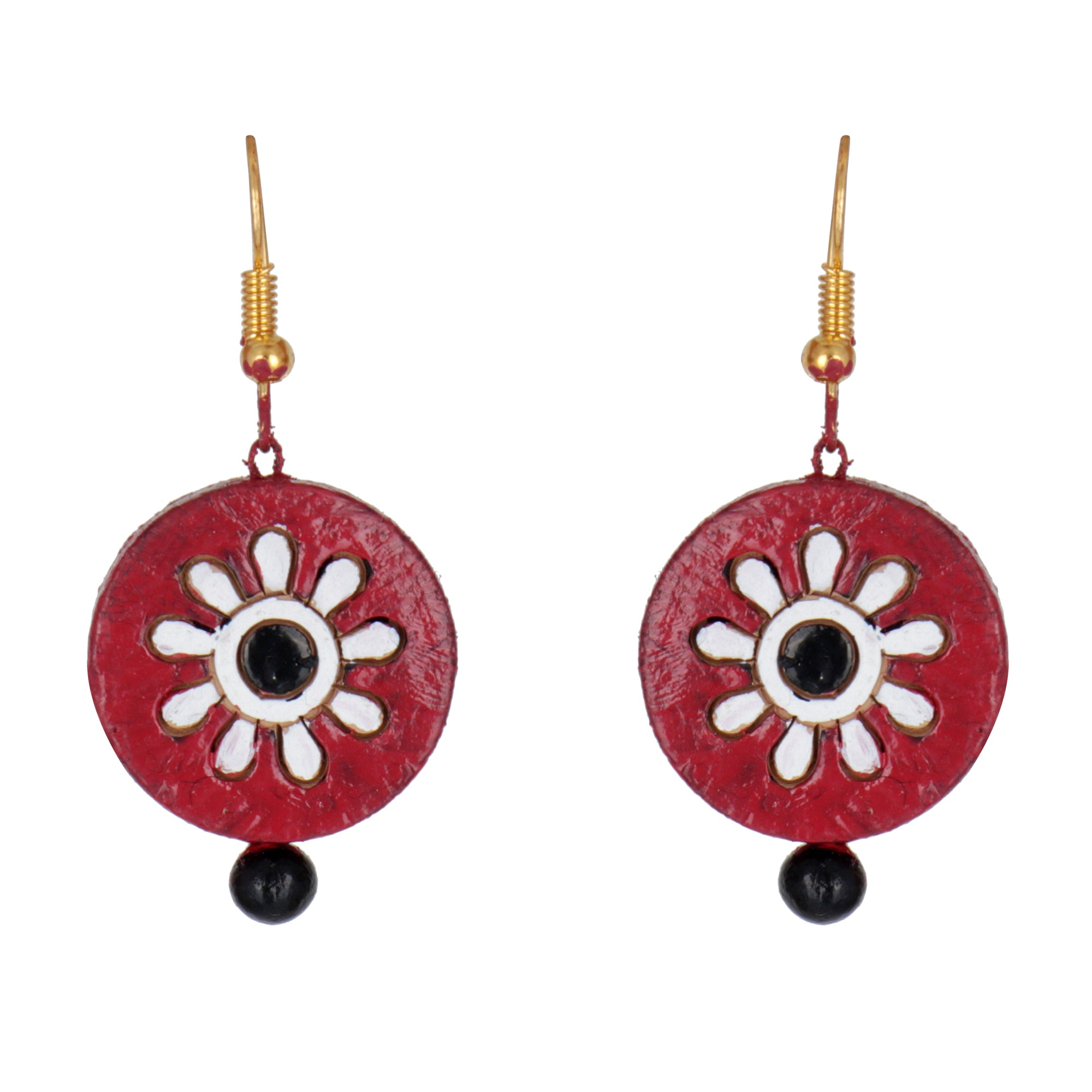 Indian Terracotta Handcrafted Vintage Red Flower Style Fashion Jewelry Set