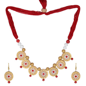 Indian Terracotta Handcrafted Vintage Boho Antique flower style Fashion Jewelry Set