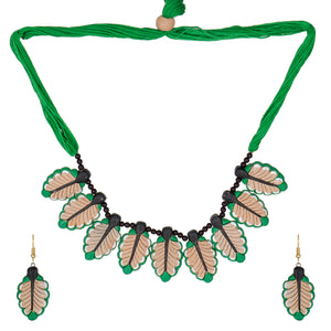 Indian Terracotta Handcrafted Vintage Antique Green Leaves Style Fashion Jewelry set