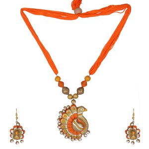 GahneMall Indian Terracotta Handcrafted Vintage OrangePeacock Style Fashion Jewelry set
